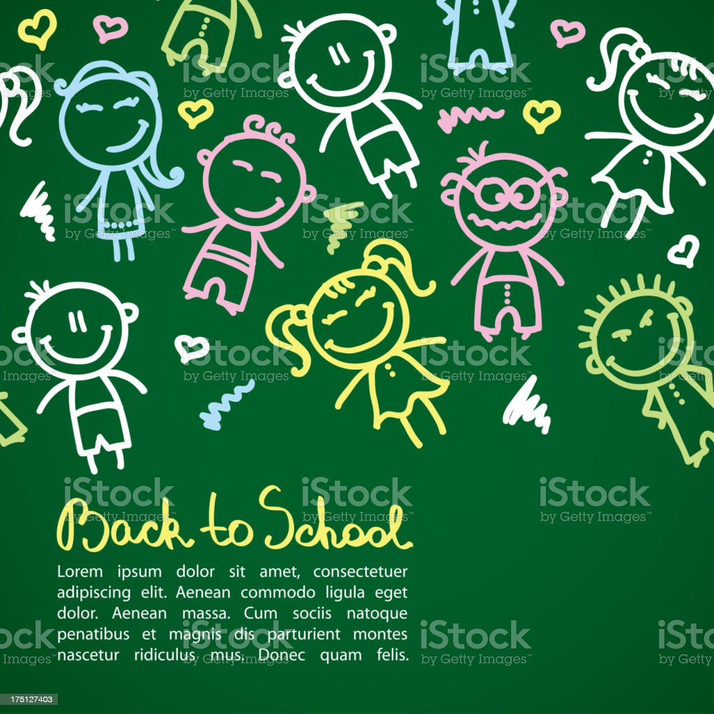 A back to school poster including colorful scribbles of kids royalty-free stock vector art