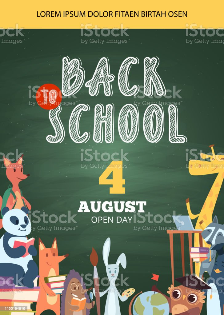 Back to school poster. Open day party event invitation placard...