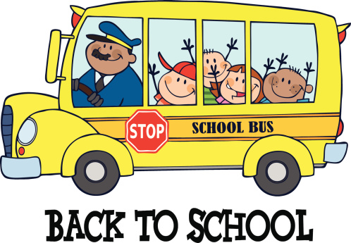 A Back To School Poster Showing Excited Kids In A School Bus Stock  Illustration - Download Image Now - iStock