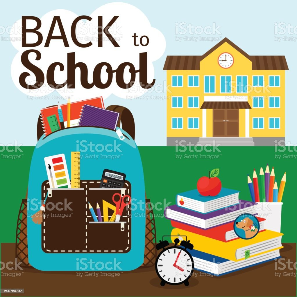 Back to school poster vector art illustration