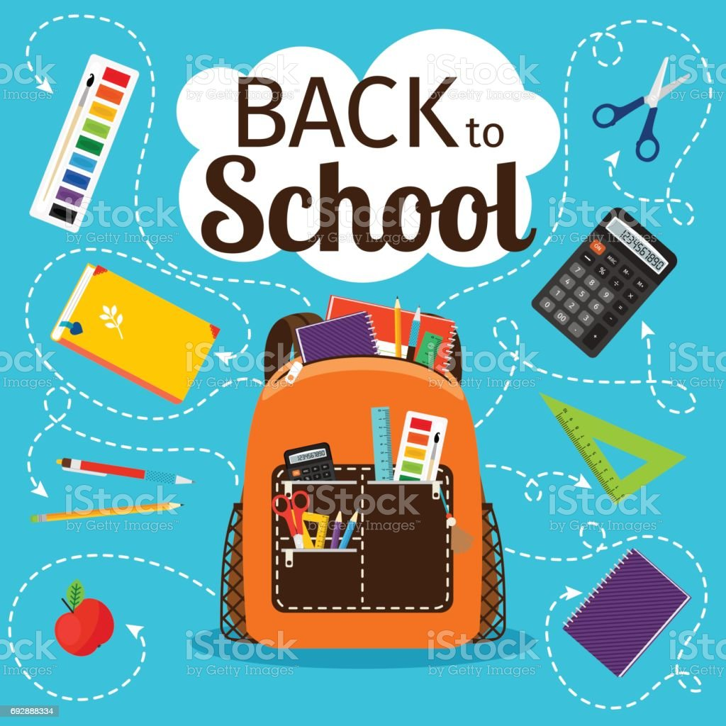 Back to school poster with backpack vector art illustration