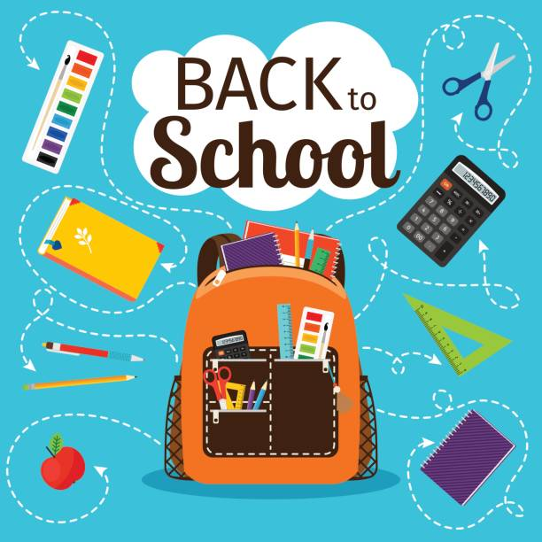 Bекторная иллюстрация Back to school poster with backpack