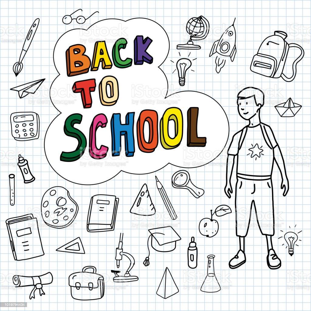 Regreso a la escuela, cartel con garabatos dibujados a mano, colegial va a la escuela, conjunto de iconos de la escuela, banner, tarjetas de invitación, estilo de dibujos animados, vector, aislado - ilustración de arte vectorial