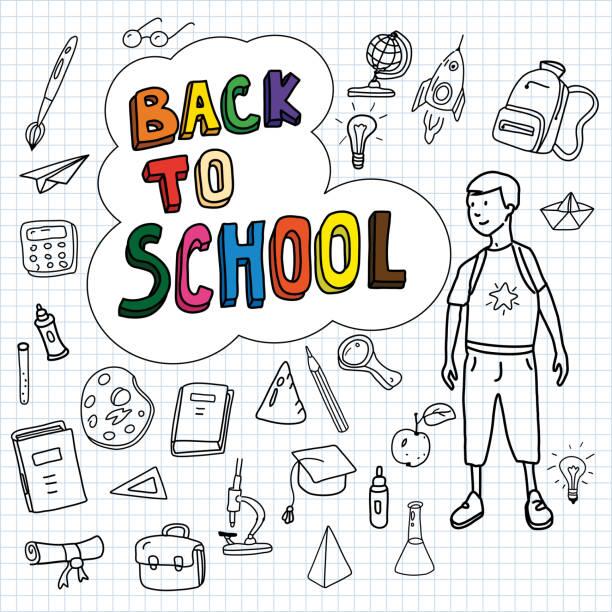 ilustraciones, imágenes clip art, dibujos animados e iconos de stock de regreso a la escuela, cartel con garabatos dibujados a mano, colegial va a la escuela, conjunto de iconos de la escuela, banner, tarjetas de invitación, estilo de dibujos animados, vector, aislado - regreso a clases