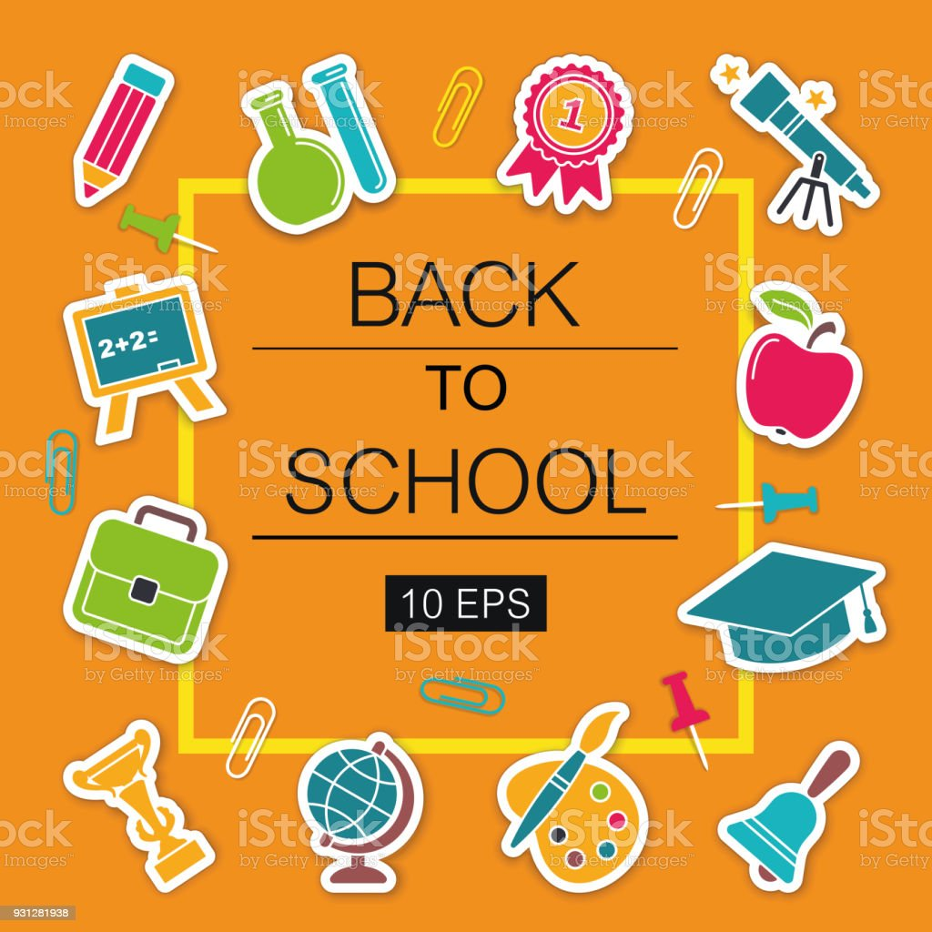 Back to school poster with stickers school symbols stock vector back to school poster with stickers school symbols royalty free back to school poster with buycottarizona Image collections