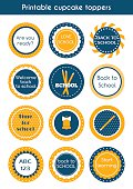 Back to school printable colorful cupcake toppers. Vector set of circle stickers, labels for school party