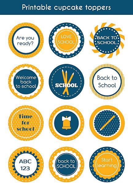 back to school printable colorful cupcake toppers - schulbedarfskuchen stock-grafiken, -clipart, -cartoons und -symbole