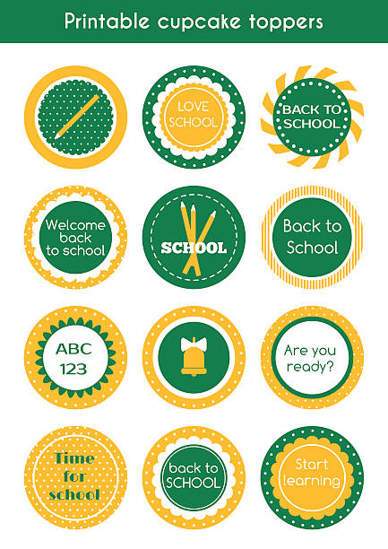 back to school printable cupcake toppers - schulbedarfskuchen stock-grafiken, -clipart, -cartoons und -symbole