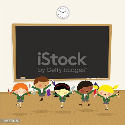 istock Back to school. pupil happy classroom,kids illustration vector 156779180