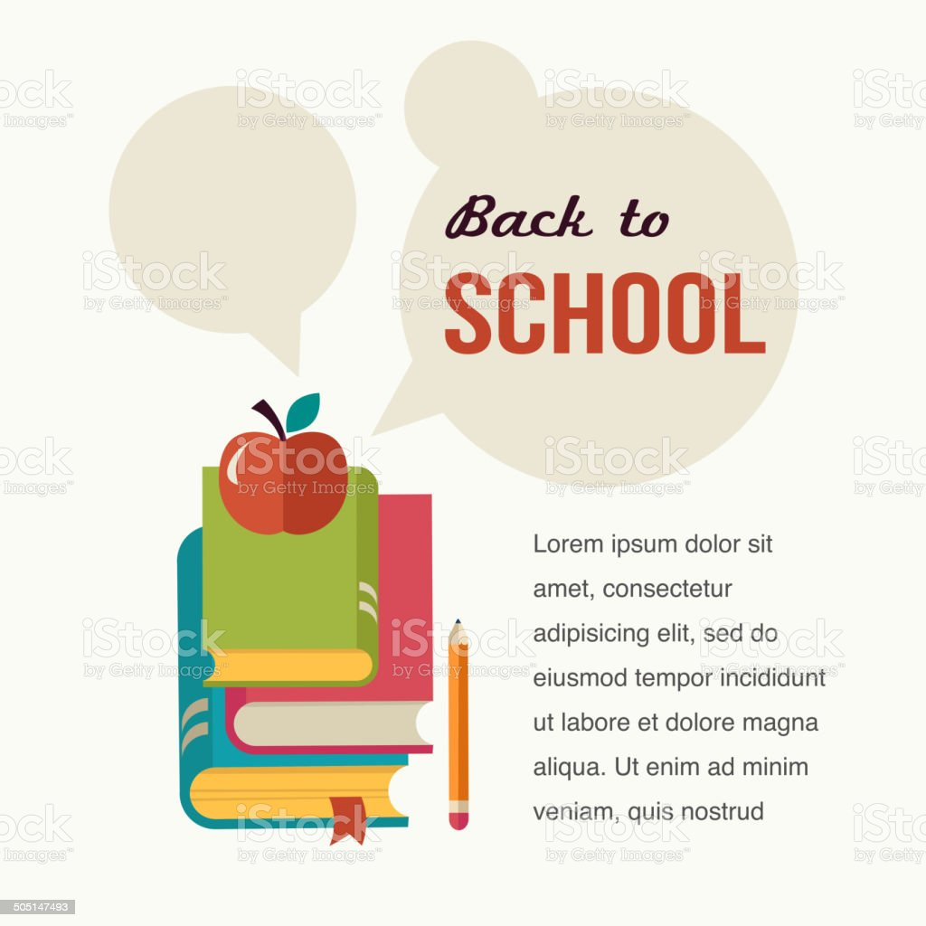 Back to school, read the books, concept backgound vector art illustration