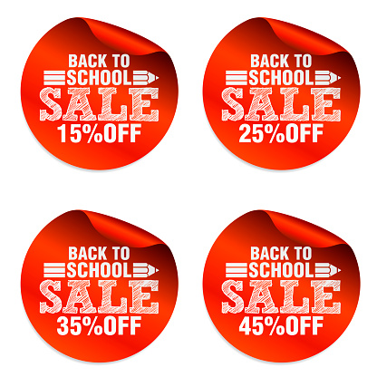Back to school red sale stickers set with pencil icon. Sale 15%, 25%, 35%, 45% off