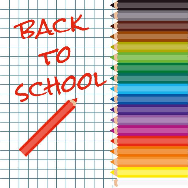 Zurück zur Schule, roter Text im Übungsbuch – Vektorgrafik