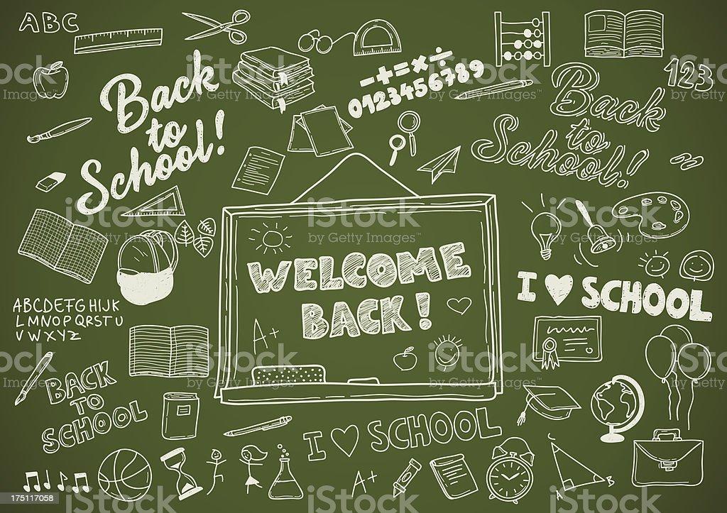 学校に戻る-レトロな手書き文字要素作成キット ベクターアートイラスト