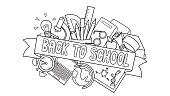 Doodle of student supplies with Back to School label in front for design element and coloring book page for kids. Vector illustration