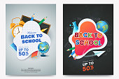 Back to school sale A4 poster design. Composition with text and colorful school supplies. Educational items. Dark chalkboard background. Elements for your design. Vector illustration.