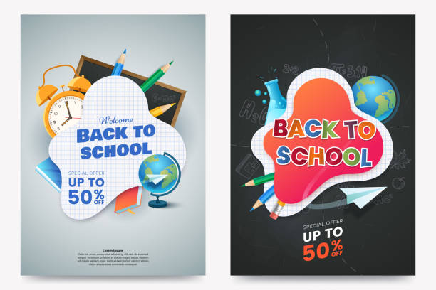 Back to school sale A4 poster design. Composition with text and colorful school supplies. Educational items. Dark chalkboard background. Elements for your design. Vector illustration. Back to school sale A4 poster design. Composition with text and colorful school supplies. Educational items. Dark chalkboard background. Elements for your design. Vector illustration. back to school stock illustrations