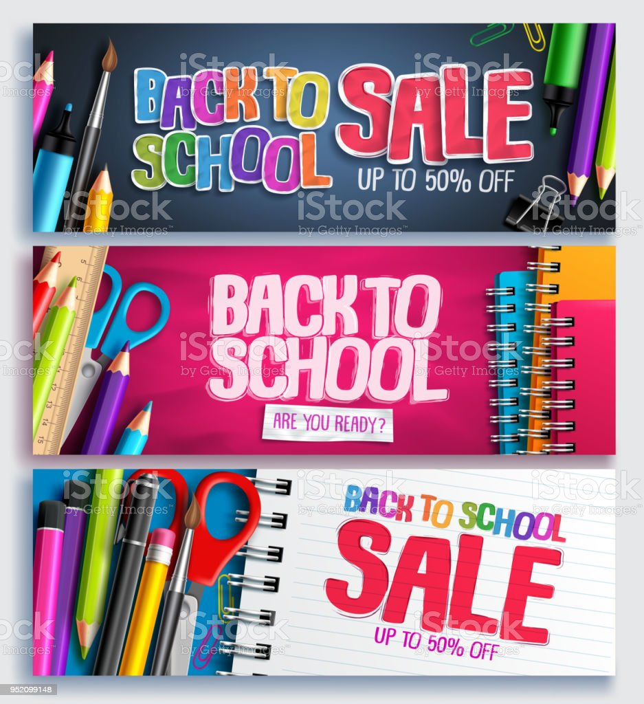 Volver a la escuela educación y venta de descuento promoción fondo vector - ilustración de arte vectorial