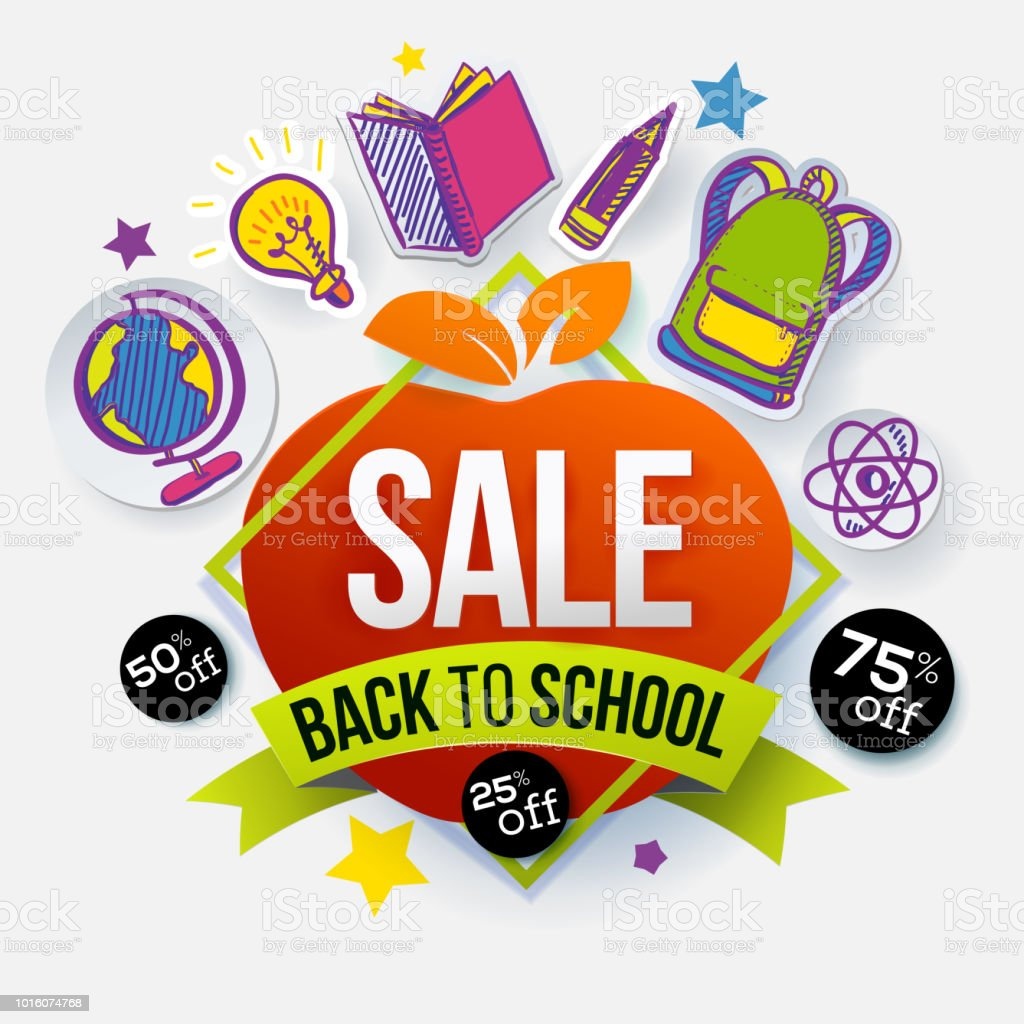 Back To School Sale Apple Symbol Stock Vector Art More Images Of