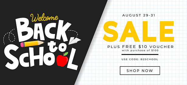 Back to school sale banner design template. Welcome back to school background.