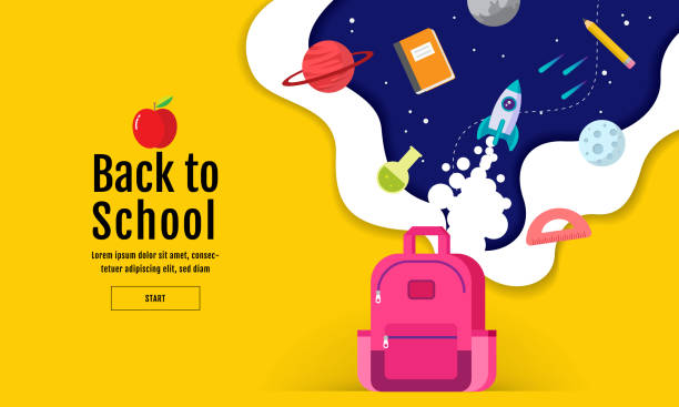 back to school sale banner, poster, flat design colorful, vector - wykształcenie stock illustrations