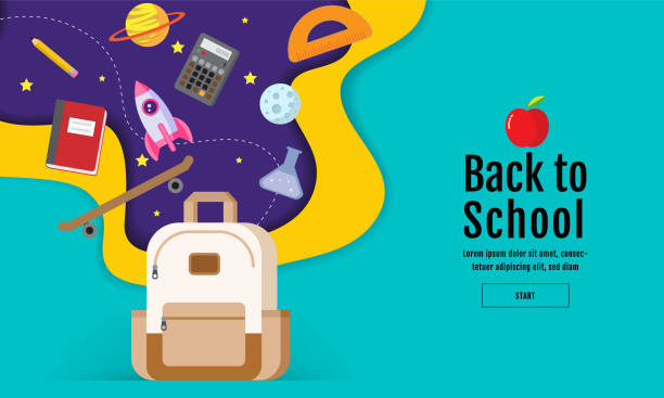 back to school sale banner, poster, flat design colorful, vector vector art illustration