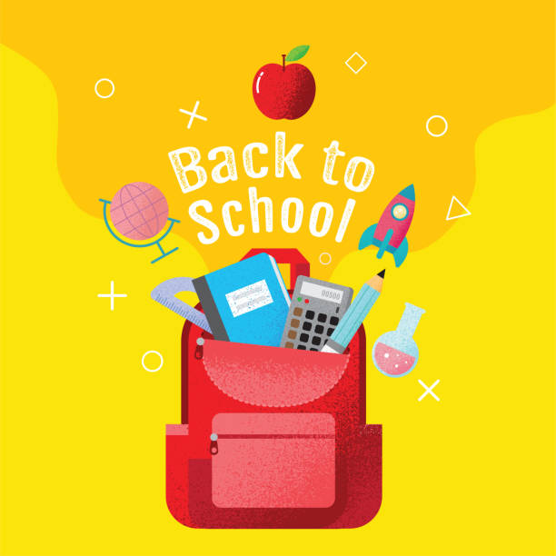 back to school sale banner, poster, flat design colorful, vector - back to school stock illustrations, clip art, cartoons, & icons