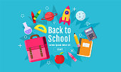 back to school sale banner, poster, 3D design colorful, vector