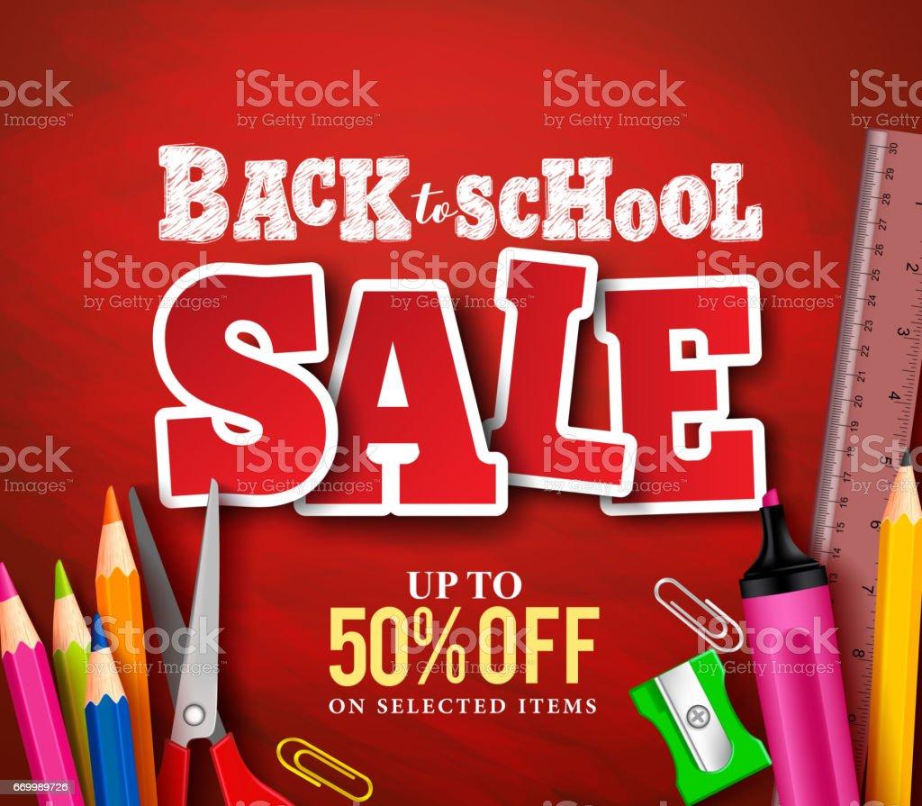 Volver a escuela venta banner vector diseño en fondo rojo - ilustración de arte vectorial