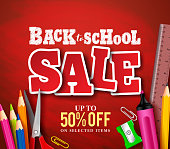 Back to school sale banner vector design in red background
