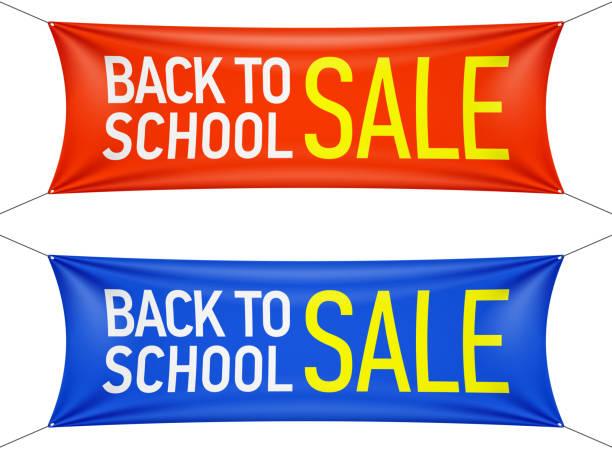 ilustraciones, imágenes clip art, dibujos animados e iconos de stock de banners de regreso a la escuela sale - gran inauguración