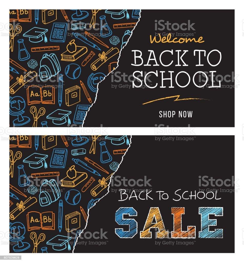 Terug naar school te koop bannervectorkunst illustratie