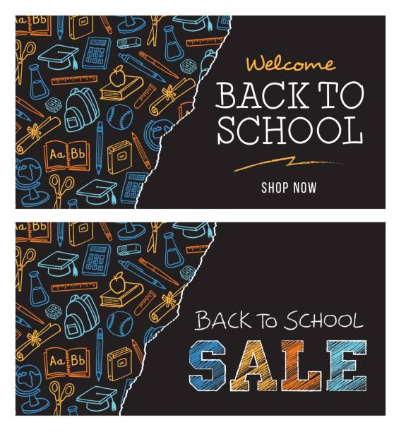 back to school sale banner - primary school stock illustrations, clip art, cartoons, & icons