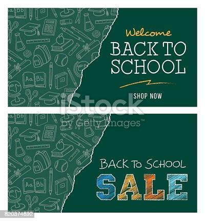 istock Back to school sale banner 820374892