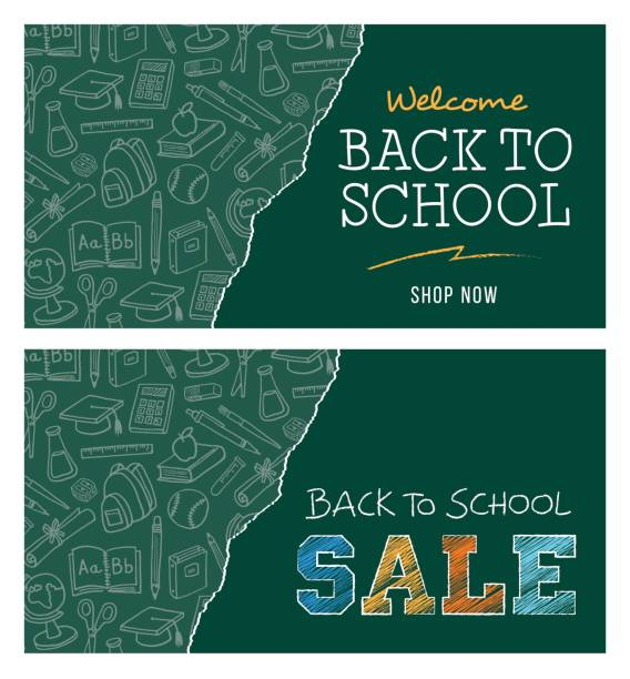 Back to school sale banner Back to school sale banner - Illustration school supplies border stock illustrations