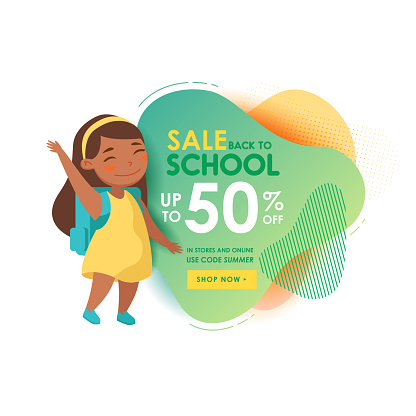 Back to School Sale Banner with Cute Cartoon Girl Student with Backpack Waving Hand. Little Pupil Rejoice for Discount
