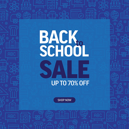 Back to School Sale Banner with Pattern of School Supplies