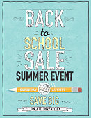 Vector illustration of a Back to School themed design template. Includes sample text design, pencil, and chalkboard background with texture. Ideal for store sale poster or online banner ad. Separate layers in Illustrator file for easy editing and customization. Textured background.