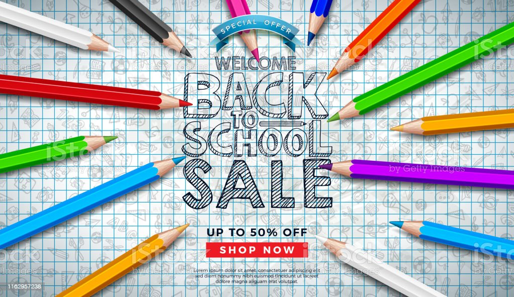 Back to School Sale Design with Colorful Pencil and Hand Drawn...