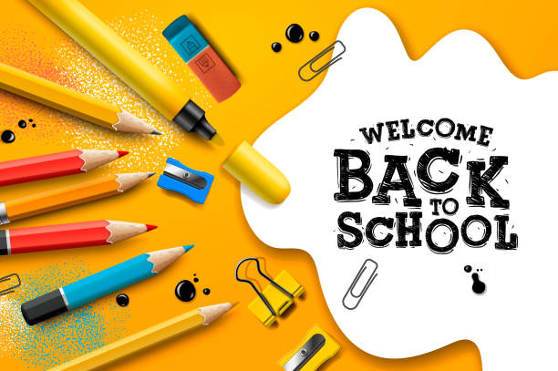 Back to school Sale design with pencils and typography lettering. Vector School illustration for poster, web, cover, ad, greeting, card, social media, promotion. Back to school Sale design with pencils and typography lettering. Vector School illustration for poster, web, cover, ad, greeting, card, social media, promotion. back to school stock illustrations