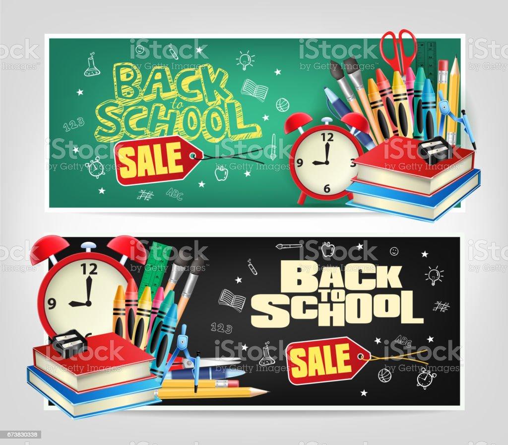 Geri okul Satılık ölmek için afiş renkli elemanları ile kesmek royalty-free geri okul satılık ölmek için afiş renkli elemanları ile kesmek stok vektör sanatı & abd'nin daha fazla görseli