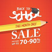 Back To School Sale heading design for banner or poster.