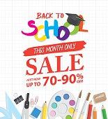 Back To School Sale heading design promotion for banner poster.