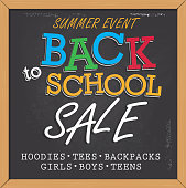 Vector illustration of a Back to School themed chalk poster design template. Square poster design with wood frame. Hand drawn elements. Includes sample text designs 'Back to School sale', and chalkboard background with texture, Blue, orange and red color palette. Separate layers in Illustrator file for easy editing and customization.