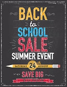 Vector illustration of a Back to School themed poster design template. Vertical poster design. Hand drawn elements. Includes sample text designs 'Back to School sale', 'Save Big', pencil, and chalkboard background with texture, Blue, orange and red color palette. Separate layers in Illustrator file for easy editing and customization.
