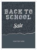Doodle back to school sale poster. Black chalkboard effect. Vector illustration.