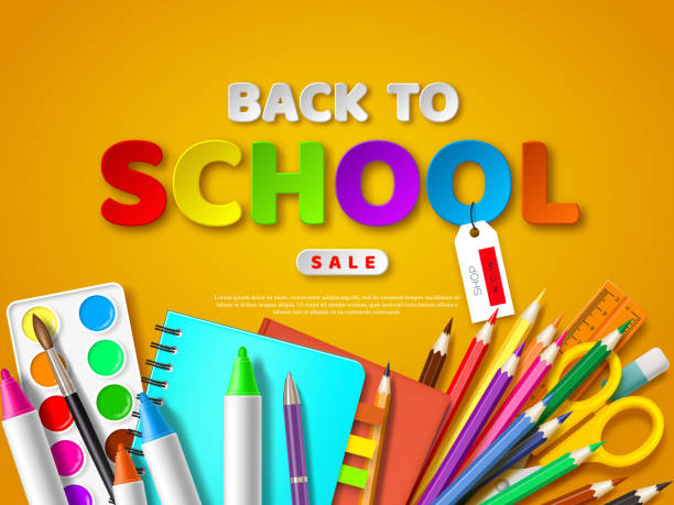 Back to school sale poster. vector art illustration