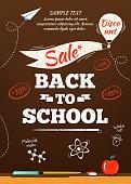 Back to school sale poster. Vector illustration