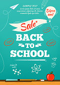 Back to school sale poster. Vector illustration