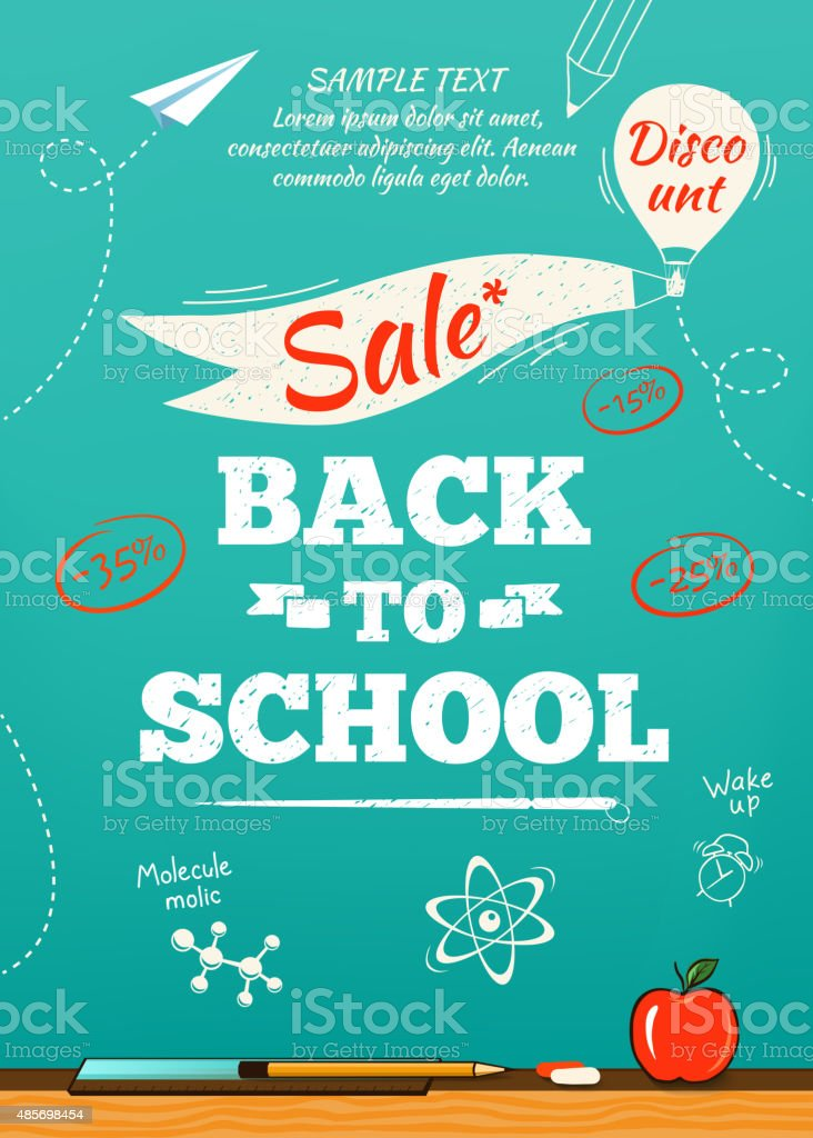 Back to school sale poster. Vector illustration vector art illustration