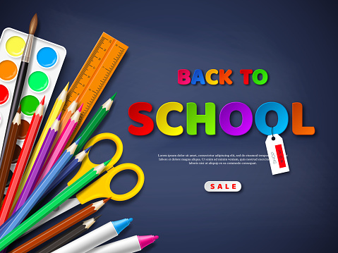 Back to school sale poster with realistic school supplies. Paper cut style letters on blackboard background. Vector illustration.